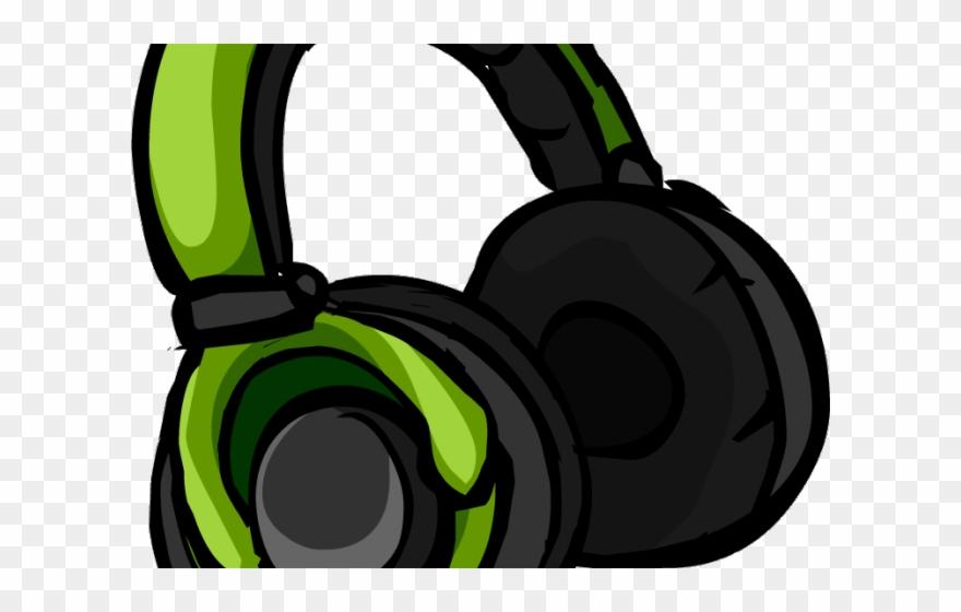 Green club penguin puffle. Headphones clipart cool headphone