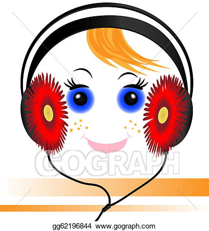 Vector illustration funny of. Headphones clipart face