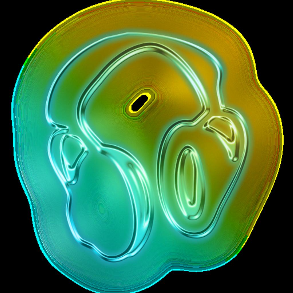 Headphones clipart green. Neon metallic sticker by