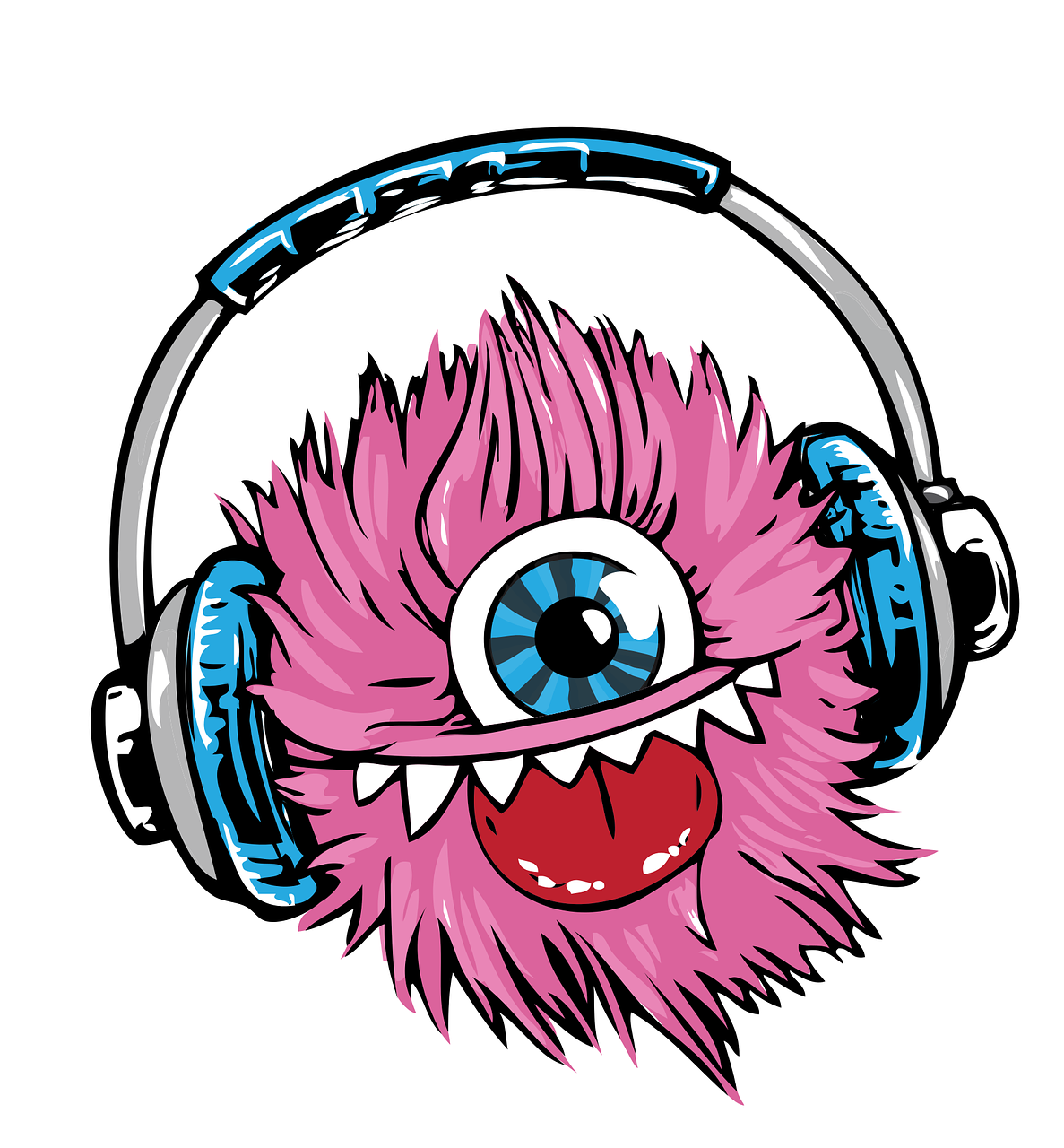 Headphones clipart illustration. Monster headset transparent image