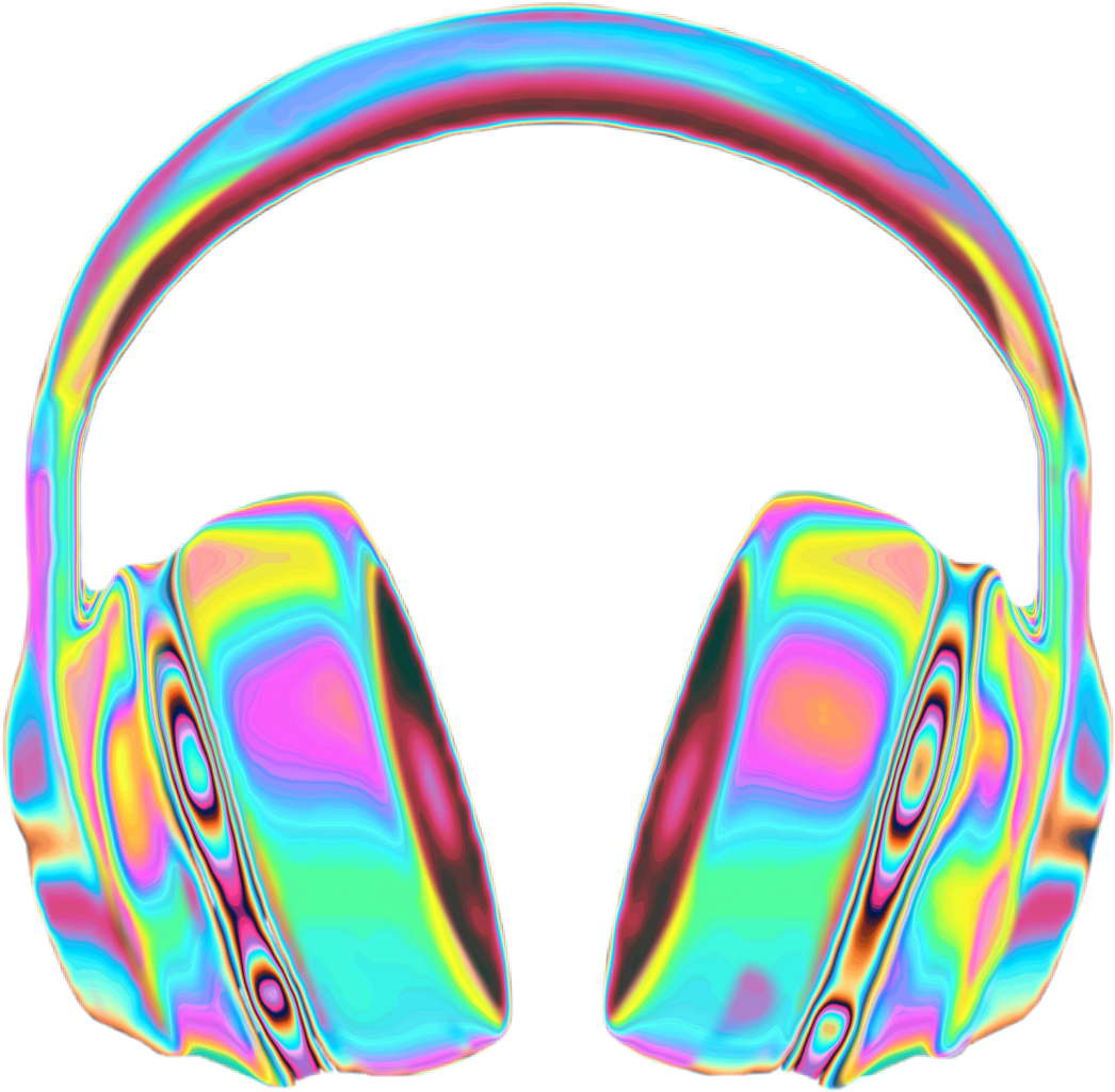 Headphones clipart sign. Holographic holo rainbow music