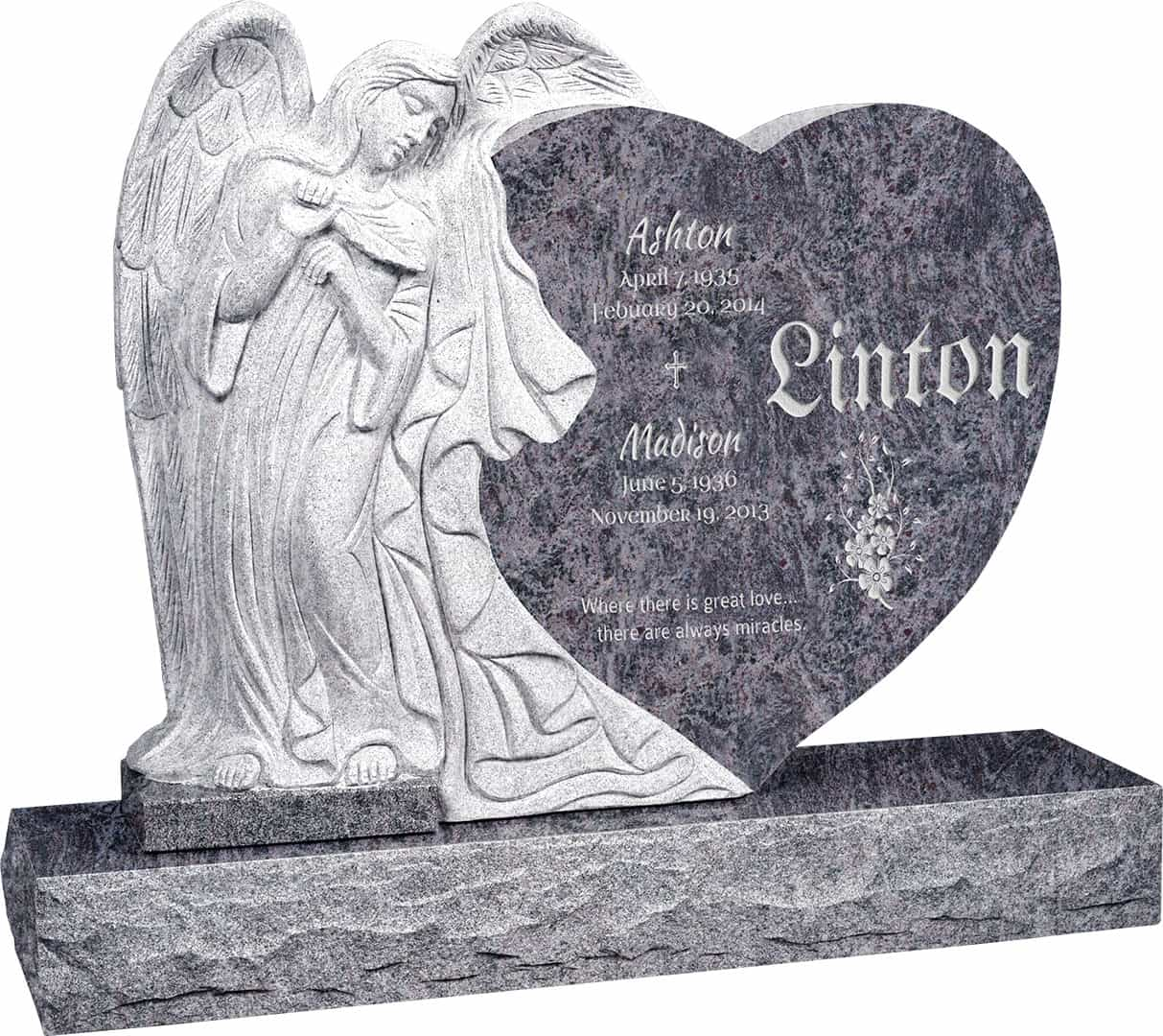 Headstone clipart man angel. Leaning heart upright polished