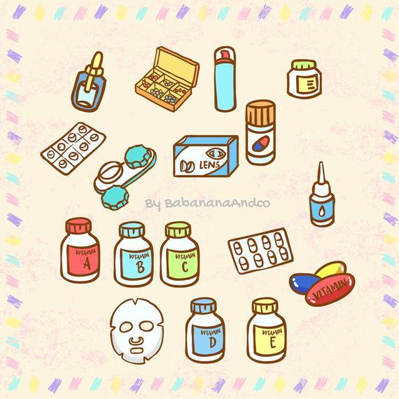 Health clipart cute. Planner stickers vitamin sticker