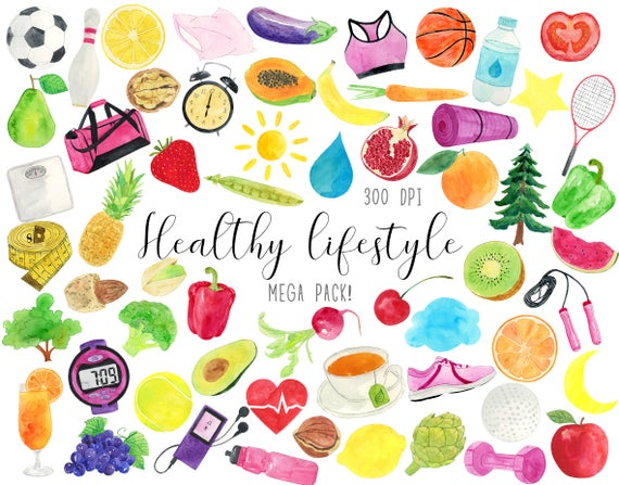 Healthy clipart live healthy. Watercolor lifestyle life fitness