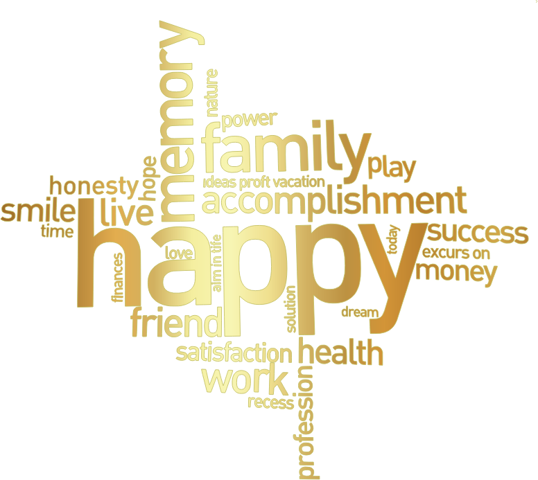 Happy family word cluster. Words clipart money