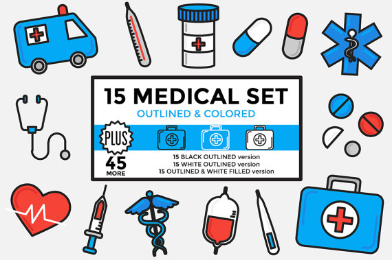 Healthcare hospital set . Medical clipart