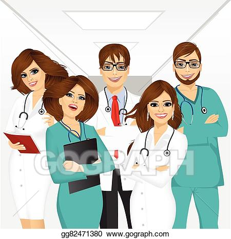Professional clipart staff. Vector group of medical