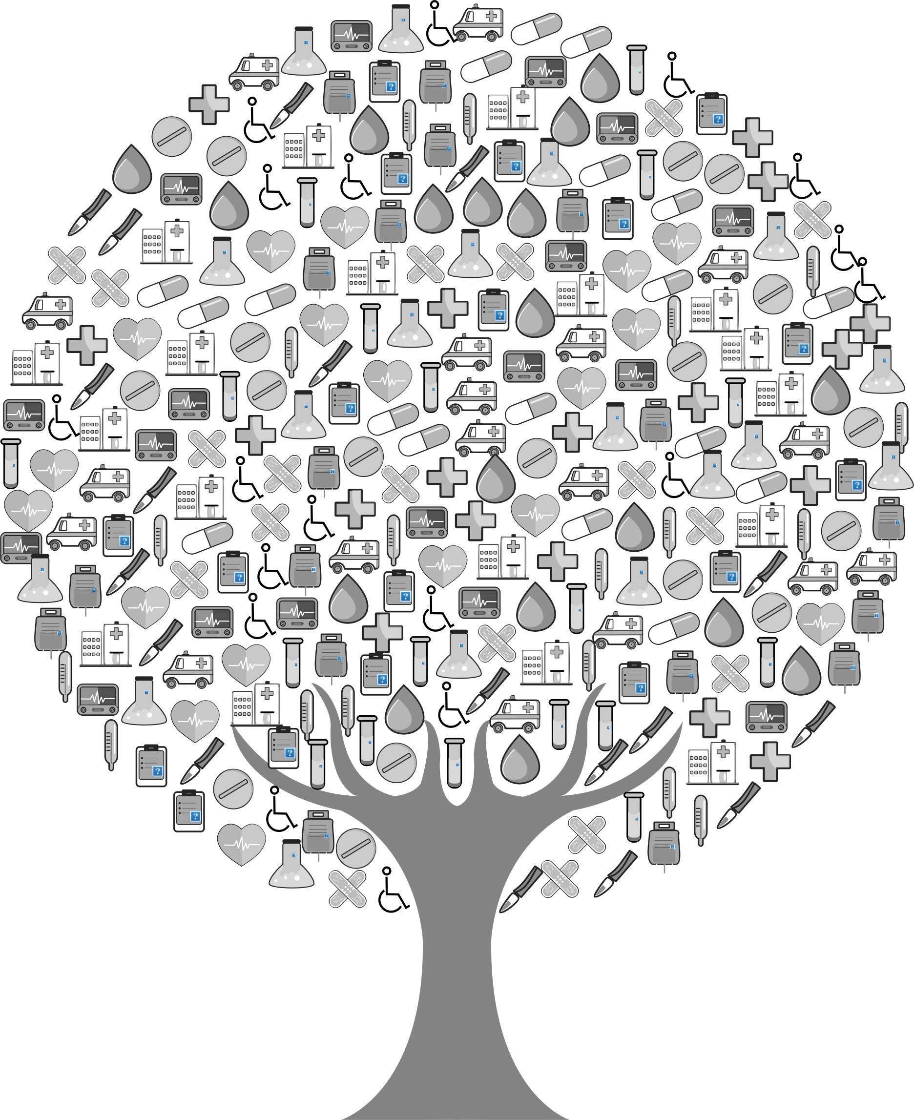 Medical clipart medical test. Icons tree grayscale big