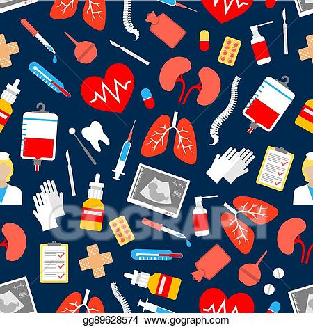 Healthcare clipart medicine background. Vector and seamless pattern