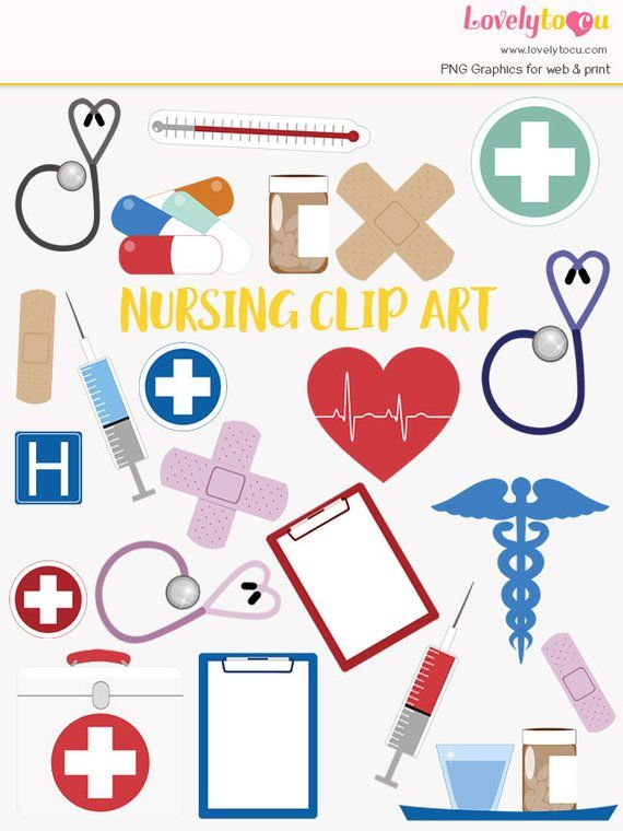 Clip art set hospital. Nursing clipart kit