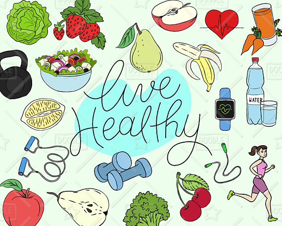 Healthy clipart. Lifestyle vector pack live