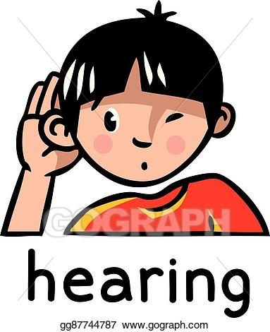 Ear clipart sense hearing. Eps vector icon stock