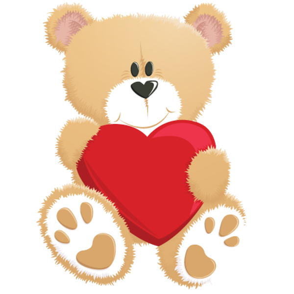 Teddy with red whimsical. Clipart bear heart