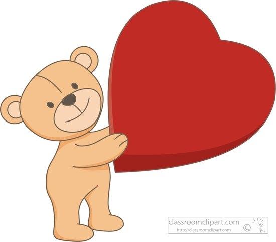 Teddy holding heart clip. Hearts clipart bear