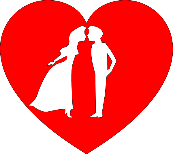 Heart with couple kissing. Kiss clipart large