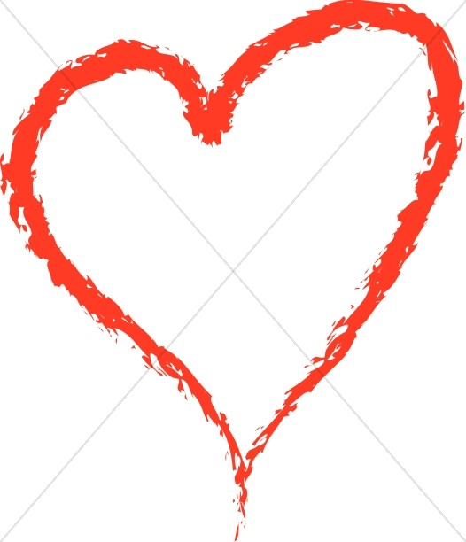 Red valentines day . Heart clipart crayon