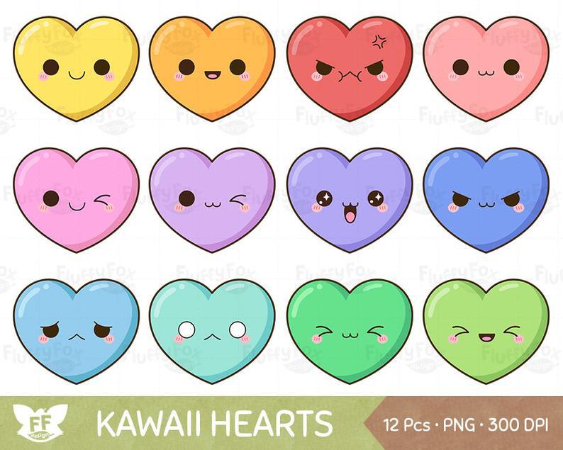 Kawaii heart clip art. Hearts clipart cute