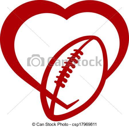 Homecoming clipart love football. Vector clip art of