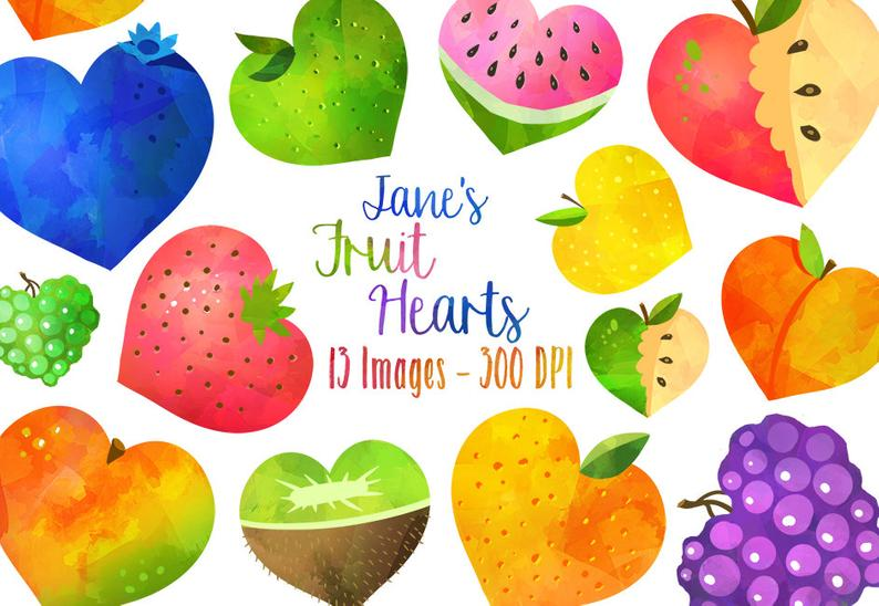 Watercolor fruit heart download. Hearts clipart food