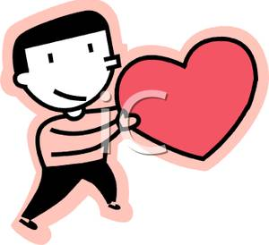 Image a man holding. Valentine clipart person