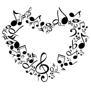 Note musical notes of. Music clipart heart