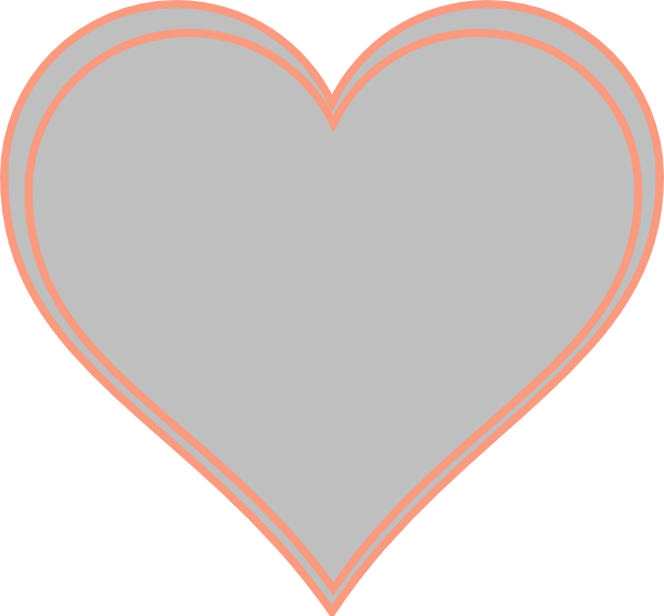 Double outline peach with. Heart clipart orange