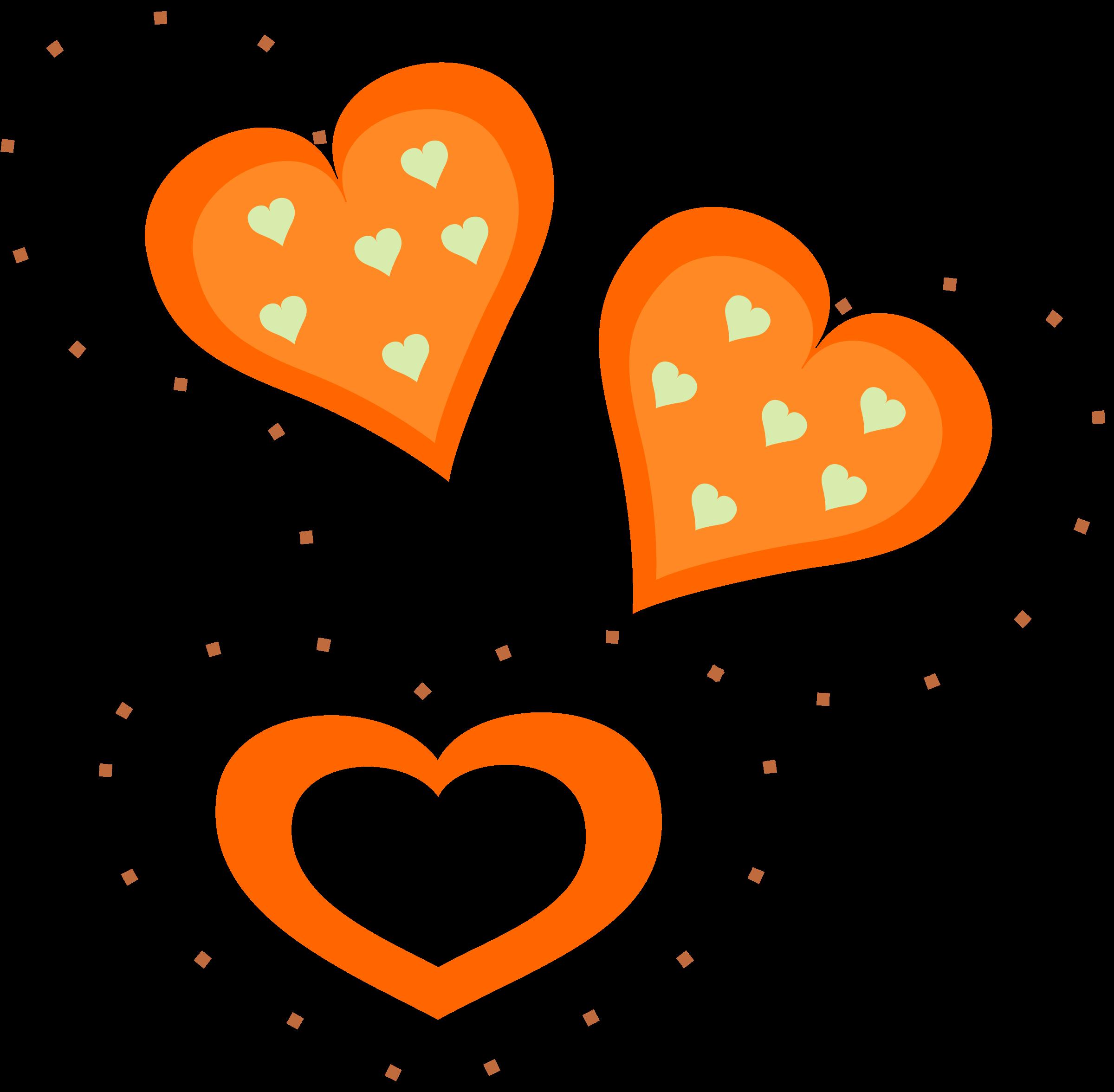 Valentine orange big image. Hearts clipart animated