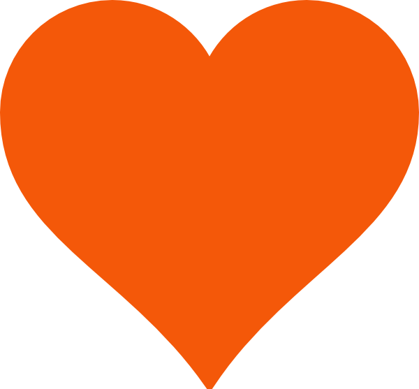 Simple clip art at. Heart clipart orange