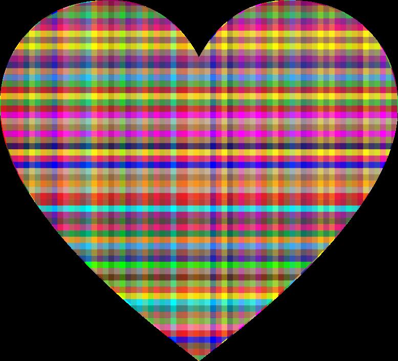 Heart clipart plaid. Colorful checkered medium image
