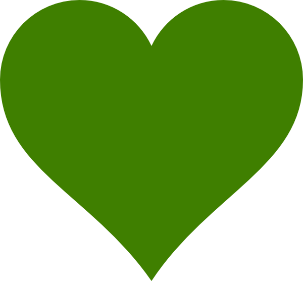 Solid green heart clip. Hearts clipart plant