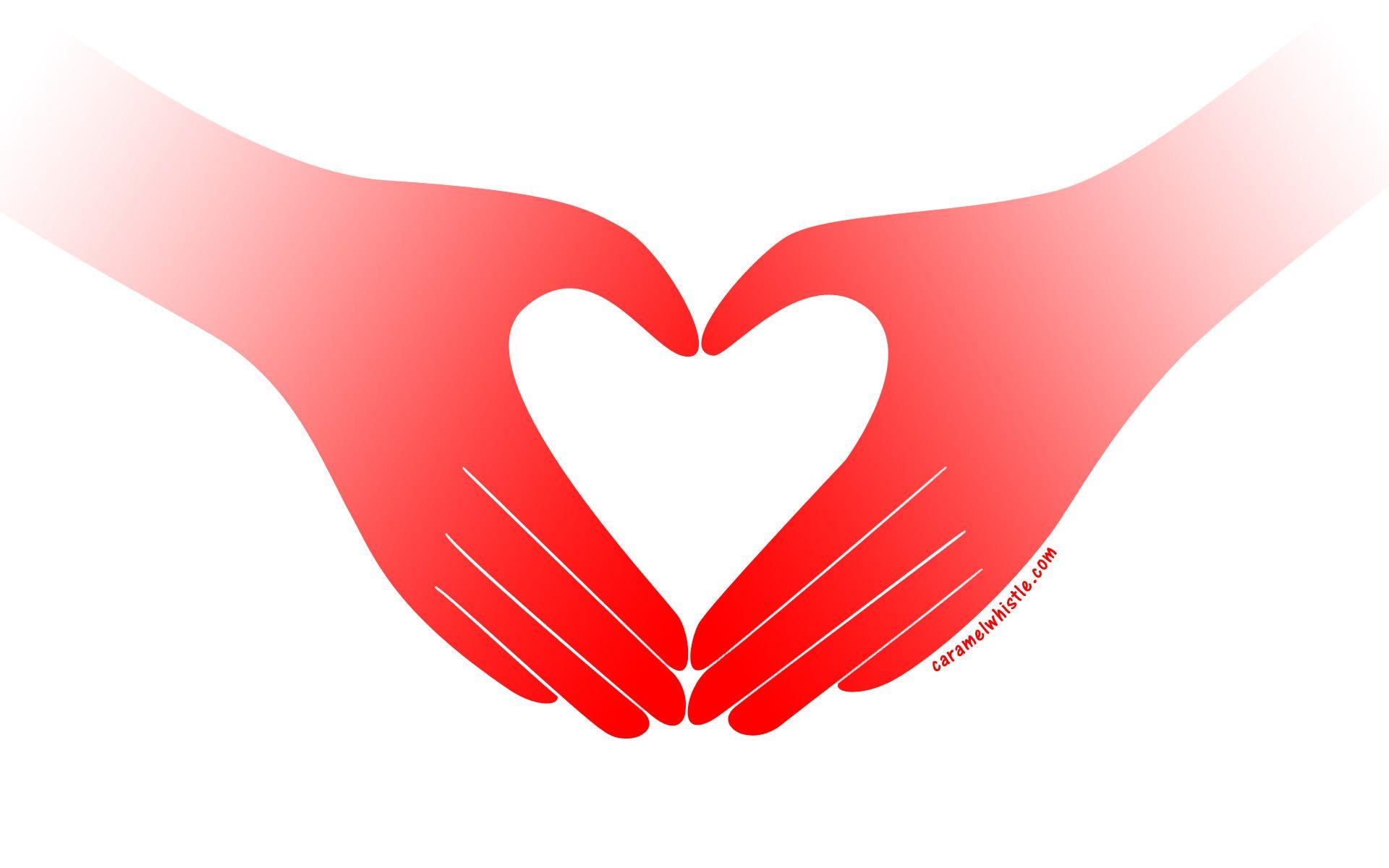 Heart clipart sign. Hands making a google