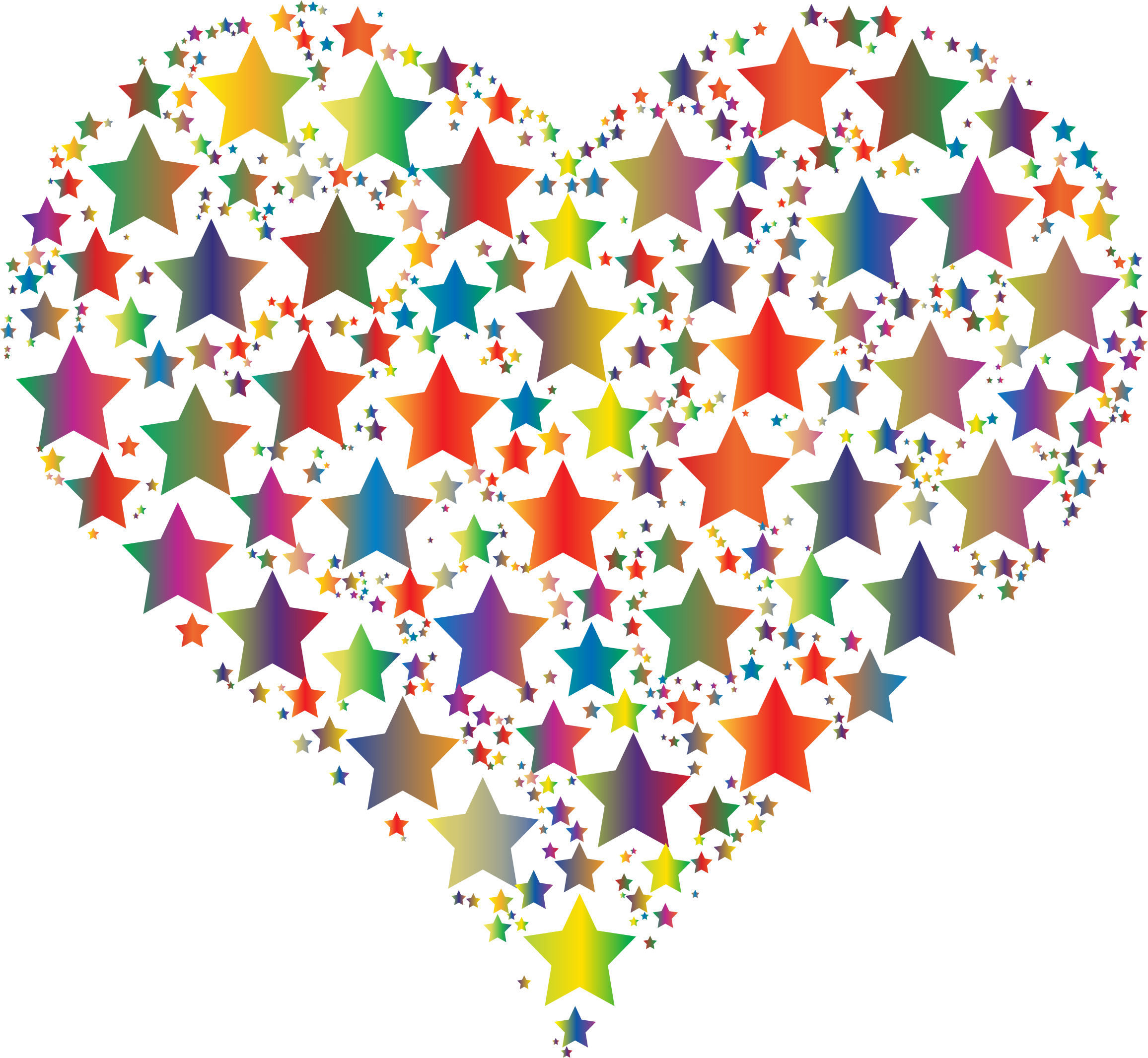 Colorful heart stars big. Hearts clipart star