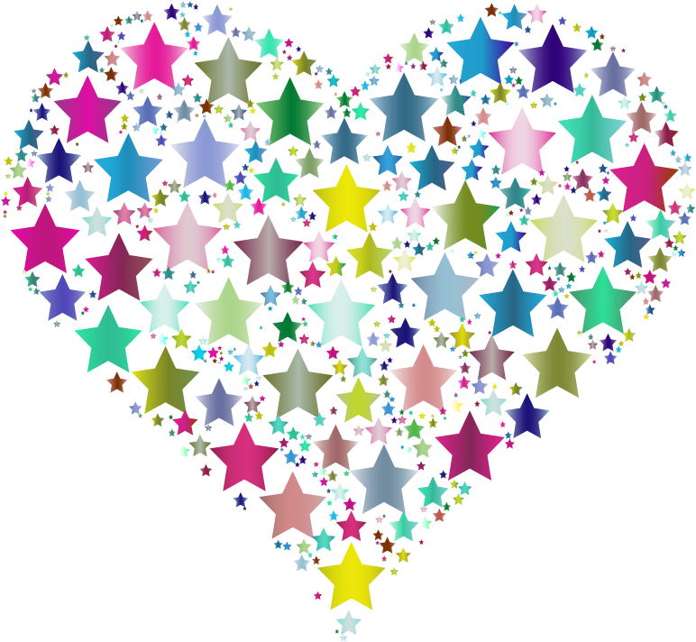 Colorful stars medium image. Heart clipart star