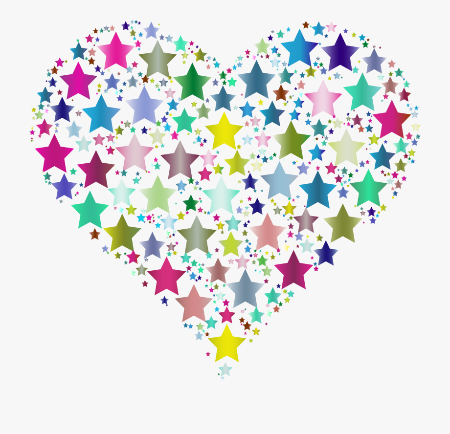 Black and colorful heart. Hearts clipart star