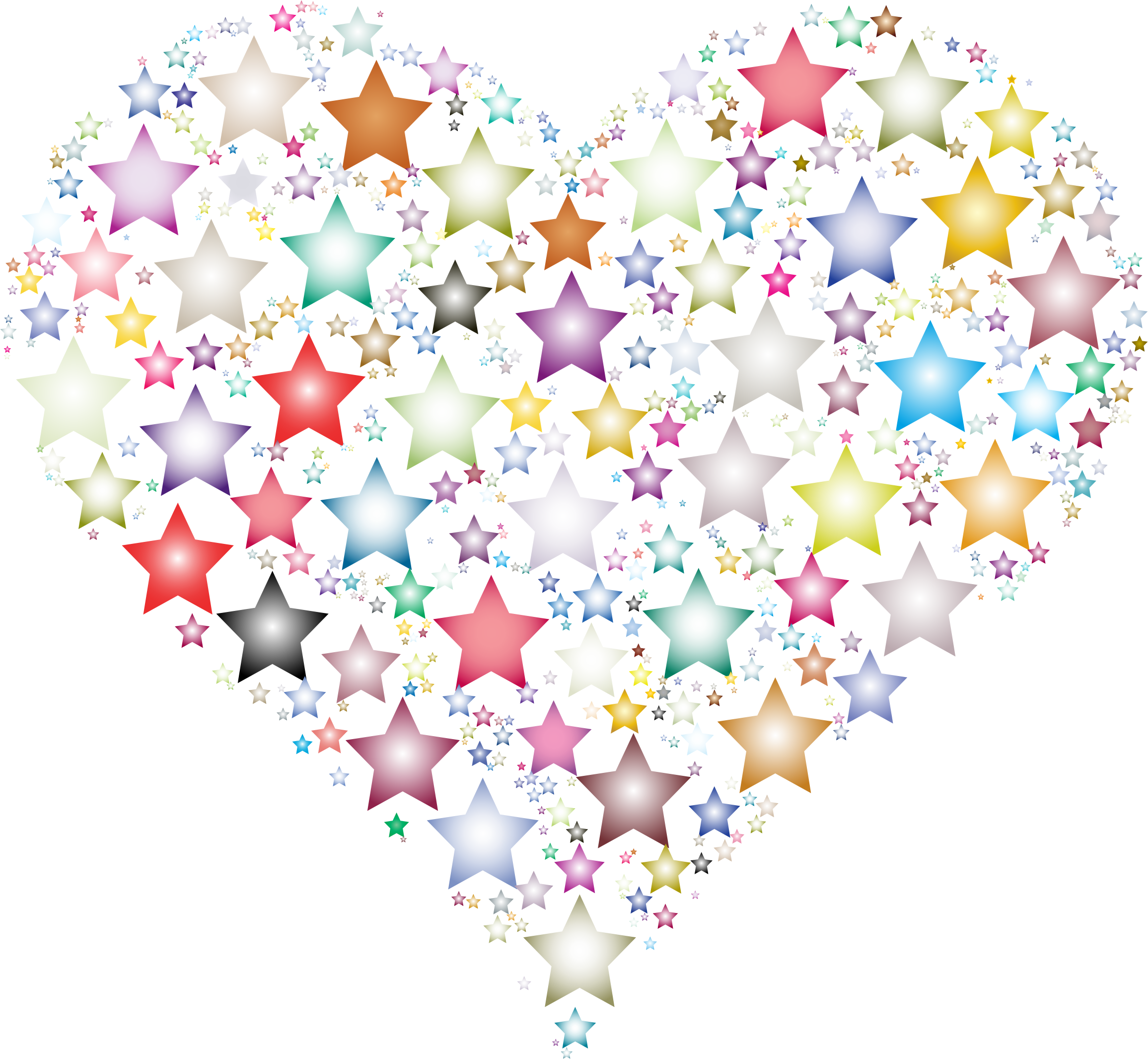 Colorful stars big image. Heart clipart star
