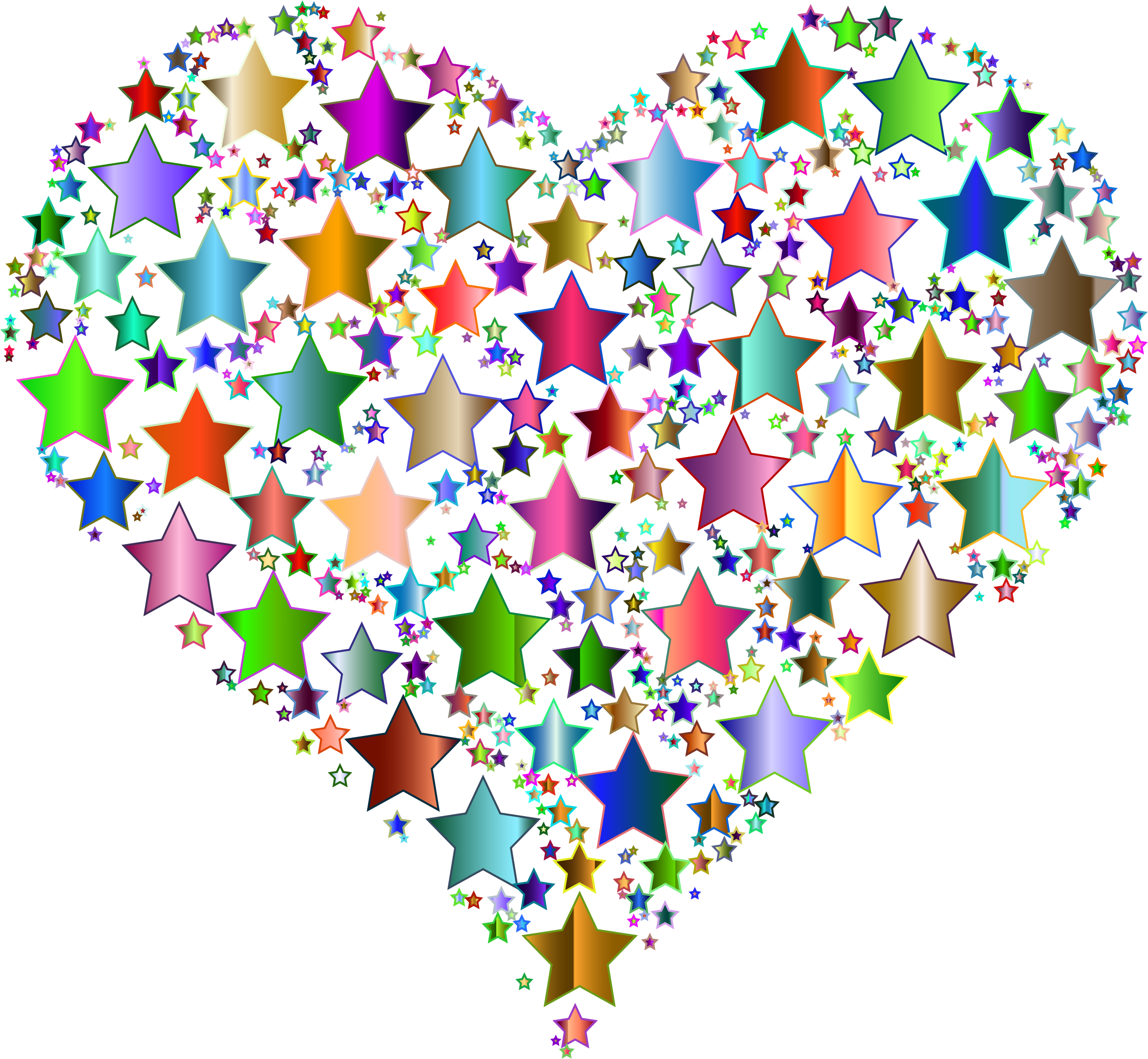Heart clipart star. Colorful stars no background