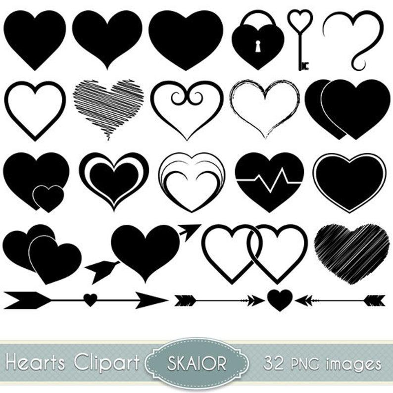 Heart clipart vector. Hearts clip art silhouette