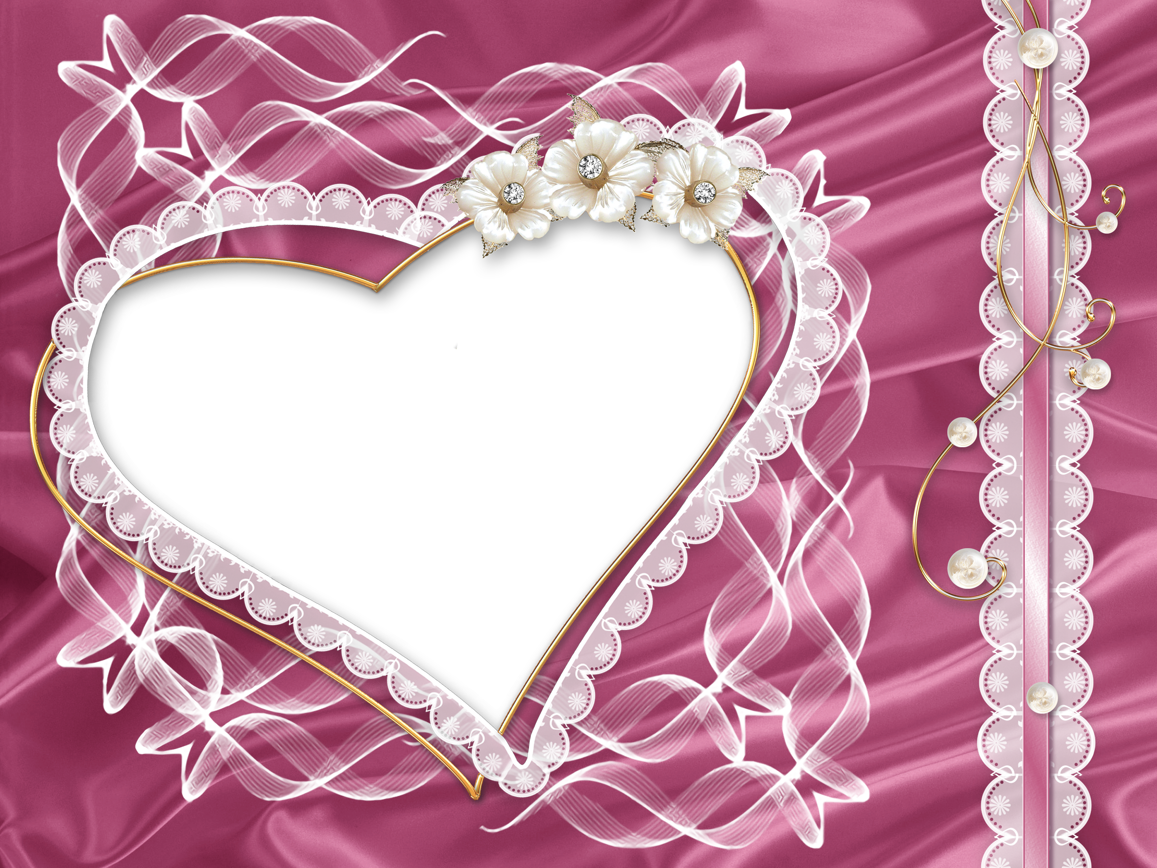 Heart frame png. Transparent pink photo with