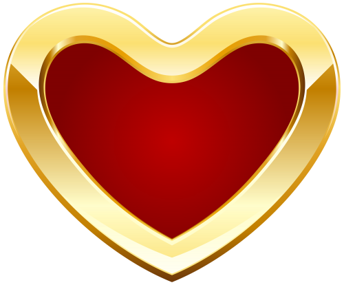 Heart png images with transparent background. Red and gold clipart