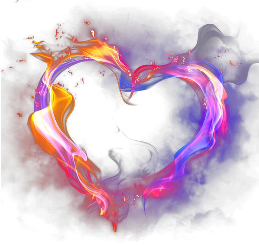 Fire effects sticker. Heart smoke png