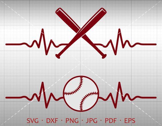 Svg silhouette cricut cut. Heartbeat clipart baseball