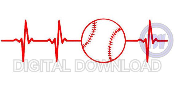 Digital download svg dxf. Heartbeat clipart baseball