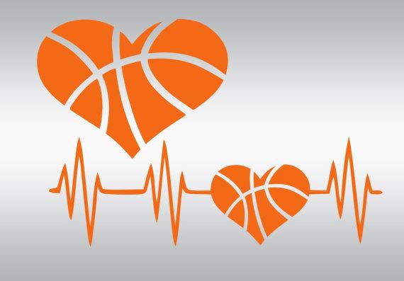 Heartbeat clipart basketball. Svg heart sports mom