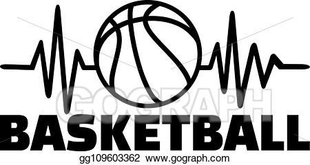 Heartbeat clipart basketball. Vector art line drawing