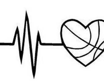 Etsy . Heartbeat clipart basketball