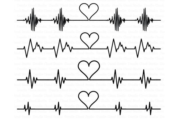 Svg files for silhouette. Heartbeat clipart cardio heart