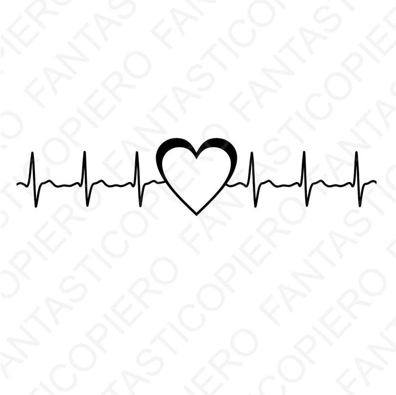 Heartbeat clipart cardio heart. Svg files for silhouette