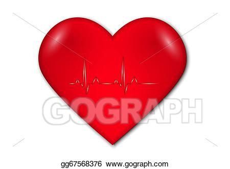 Vector art heart with. Heartbeat clipart damage