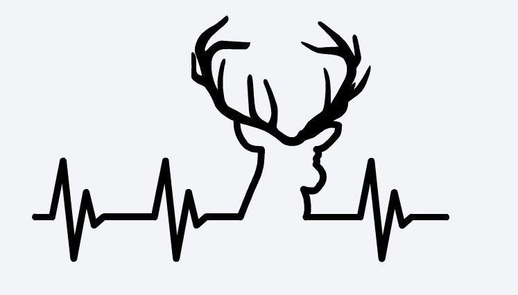 Hunting vinyl decal cutter. Heartbeat clipart deer