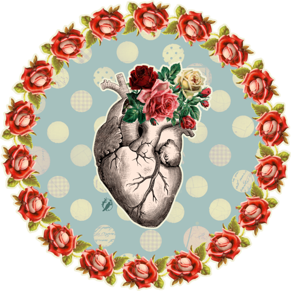Bones and roses by. Heartbeat clipart deer